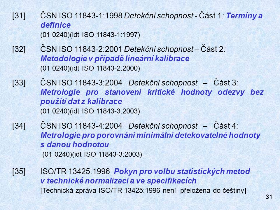[31]. ČSN ISO 11843-1:1998 Detekční schopnost - Část 1: Termíny a